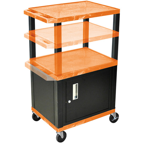 "Luxor Height-Adjustable Tuffy Cabinet Cart with Electrical Assembly (24 x 24.5-42 x 18"", Orange Shelves / Black Cabinet)"
