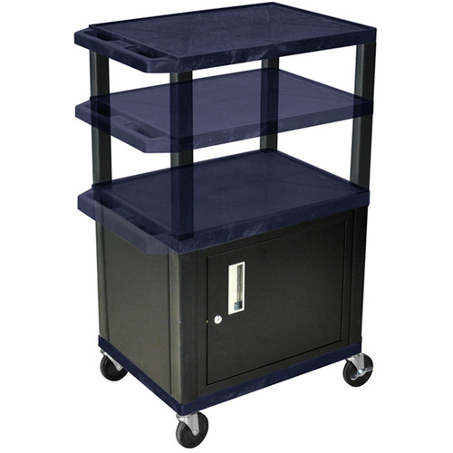 "Luxor Height-Adjustable Tuffy Cabinet Cart with Electrical Assembly (24 x 24.5-42 x 18"", Navy Shelves / Black Cabinet)"