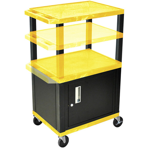 "Luxor Height-Adjustable Tuffy Cabinet Cart with Electrical Assembly (24 x 24.5-42 x 18"", Yellow Shelves / Black Cabinet)"
