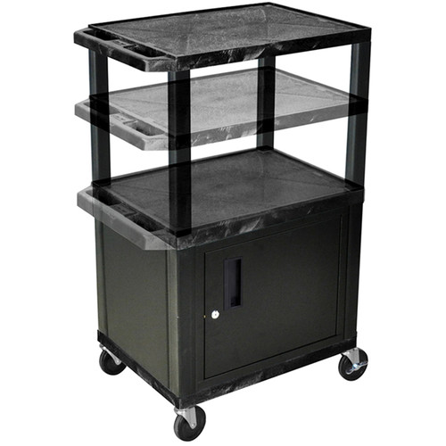 "Luxor Height-Adjustable Tuffy Cabinet Cart with Electrical Assembly (24 x 24.5-42 x 18"", Black Shelves / Black Cabinet)"