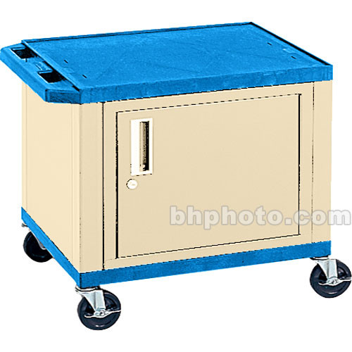 "Luxor 24.5"" Tuffy Cart with Cabinet and Electrical Assembly (Blue/White)"