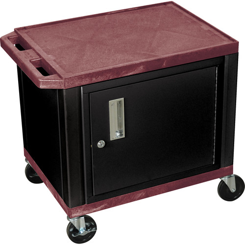 "Luxor 24.5"" Tuffy Cart with Cabinet and Electrical Assembly (Burgundy)"