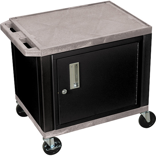 """Luxor 24.5"""" Tuffy Cart with Cabinet and Electrical Assembly (Gray)"""