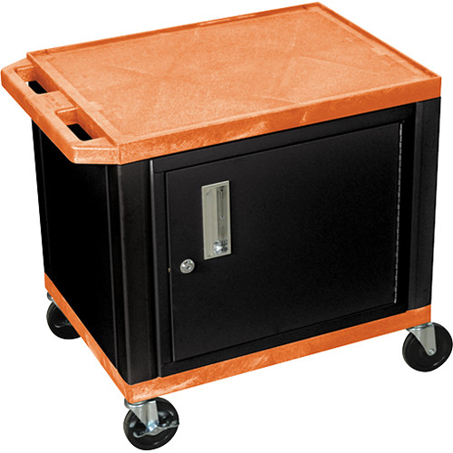 """Luxor 24.5"""" Tuffy Cart with Cabinet and Electrical Assembly (Orange)"""
