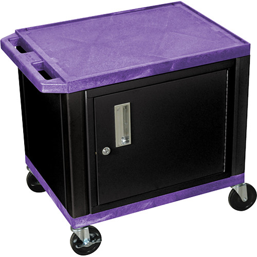 """Luxor 24.5"""" Tuffy Cart with Cabinet and Electrical Assembly (Purple)"""