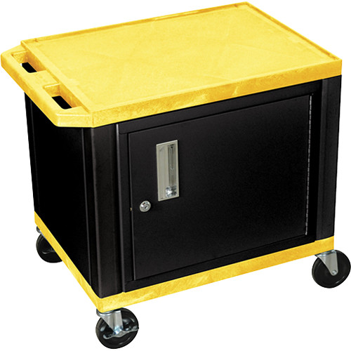 """Luxor 24.5"""" Tuffy Cart with Cabinet and Electrical Assembly (Yellow)"""