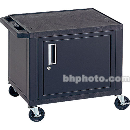 """Luxor 24.5"""" Tuffy Cart with Cabinet and Electrical Assembly (Black)"""