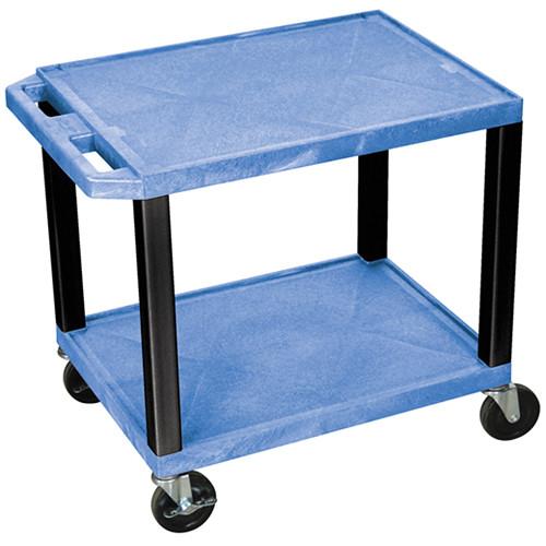 """Luxor WT26BUE-B Tuffy Open Shelf A/V Cart (24.5 x 24 x 18"""") (Blue with Black Legs)"""