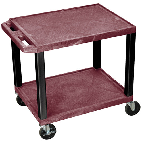 "Luxor WT26BYE-B Tuffy Open Shelf A/V Cart (24.5 x 24 x 18"") (Burgundy with Black Legs)"