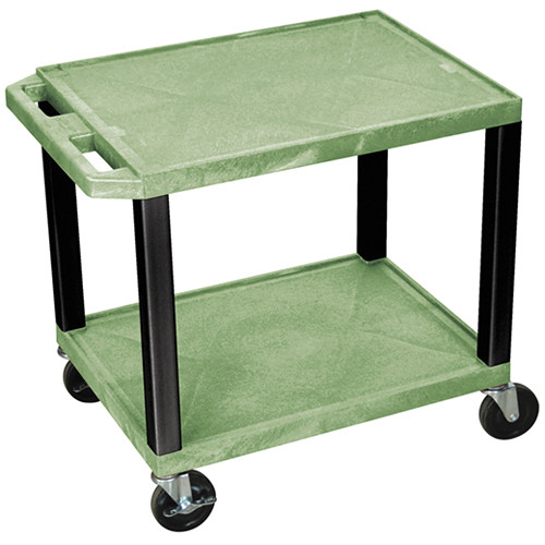 "Luxor WT26GE-B Tuffy Open Shelf A/V Cart (24.5 x 24 x 18"") (Green with Black Legs)"