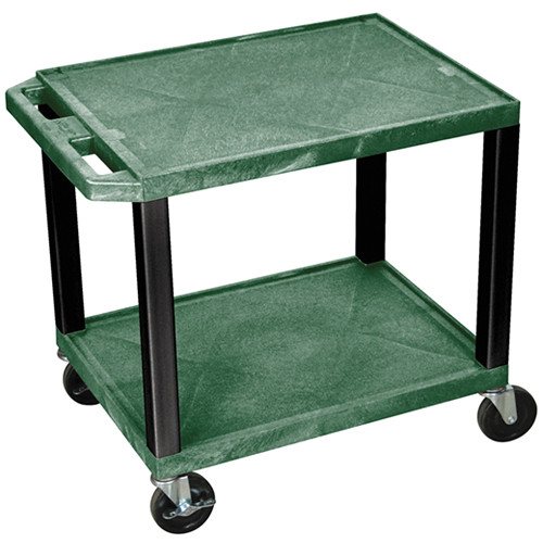 "Luxor WT26HGE-B Tuffy Open Shelf A/V Cart (24.5 x 24 x 18"") (Hunter Green with Black Legs)"
