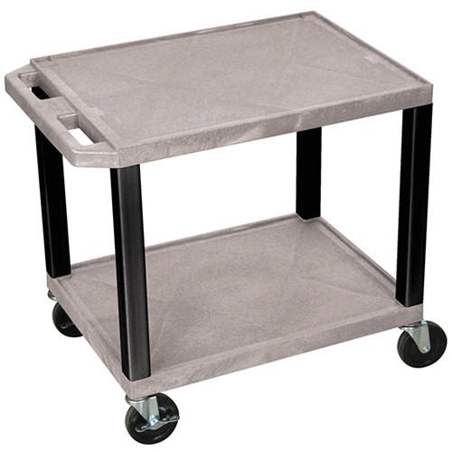 """Luxor WT26GYE-B Tuffy Open Shelf A/V Cart (24.5 x 24 x 18"""") (Gray with Black Legs)"""