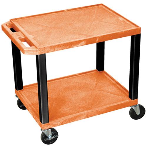 "Luxor WT26ORE-B Tuffy Open Shelf A/V Cart (24.5 x 24 x 18"") (Orange with Black Legs)"