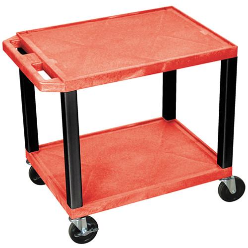 "Luxor WT26RE-B Tuffy Open Shelf A/V Cart (24.5 x 24 x 18"") (Red with Black Legs)"