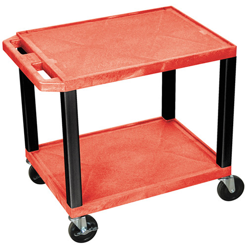 "Luxor WT26RE-B Tuffy Open Shelf A/V Cart (24.5 x 24 x 18"") (Red with Black Legs)"