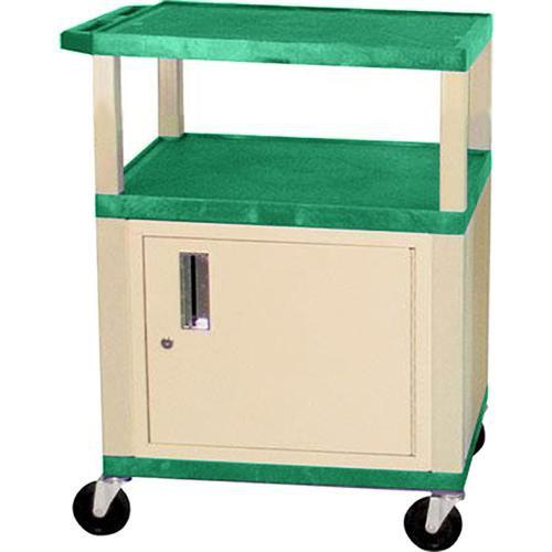 "Luxor Tuffy 24 x 34 x 18"" (WxHxD) Cart w/ Locking Cabinet (Hunter Green)"