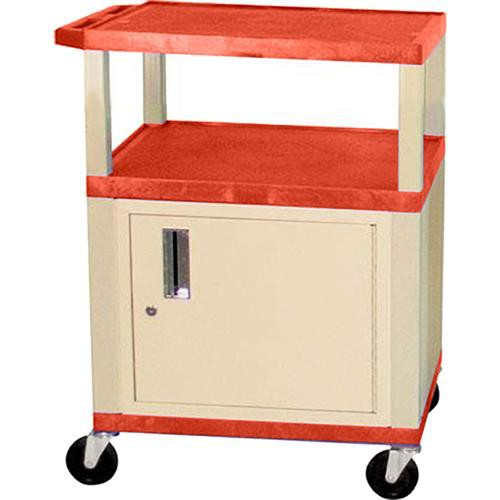 "Luxor Tuffy 24 x 34 x 18"" (WxHxD) Cart w/ Locking Cabinet (Orange)"