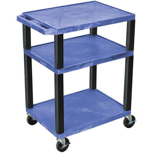 """Luxor 34"""" A/V Cart with 3 Shelves and 3-Outlet Electrical Assembly (Blue Shelves, Black Legs)"""