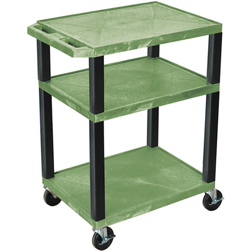 """Luxor 34"""" A/V Cart with 3 Shelves and 3-Outlet Electrical Assembly (Green Shelves, Black Legs)"""