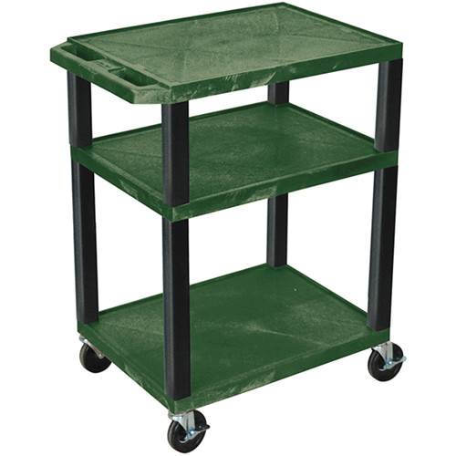 "Luxor 34"" A/V Cart with 3 Shelves and 3-Outlet Electrical Assembly (Hunter Green Shelves, Black Legs)"