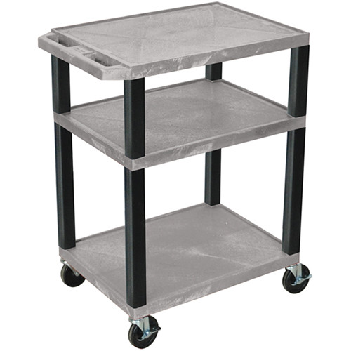 """Luxor 34"""" A/V Cart with 3 Shelves and 3-Outlet Electrical Assembly (Gray Shelves, Black Legs)"""