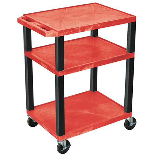 """Luxor 34"""" A/V Cart with 3 Shelves and 3-Outlet Electrical Assembly (Red Shelves, Black Legs)"""