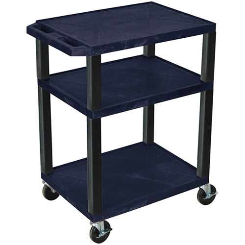 "Luxor 34"" A/V Cart with 3 Shelves and 3-Outlet Electrical Assembly (Navy Shelves, Black Legs)"