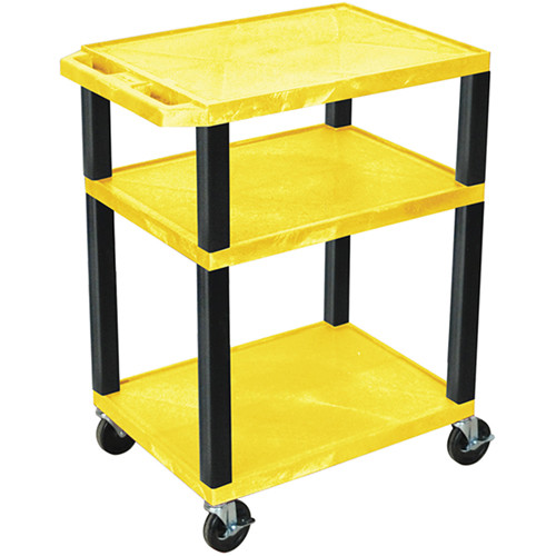 "Luxor 34"" A/V Cart with 3 Shelves and 3-Outlet Electrical Assembly (Yellow Shelves, Black Legs)"