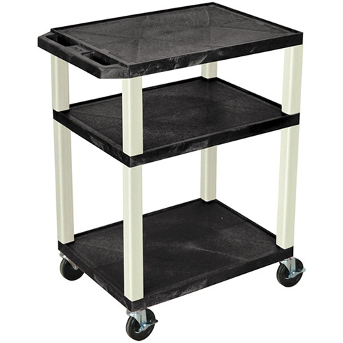 "Luxor 34"" Tuffy Open Shelf A/V Cart with 3 Shelves and 3-Outlet Electrical Assembly (Black Shelves, Putty Legs)"