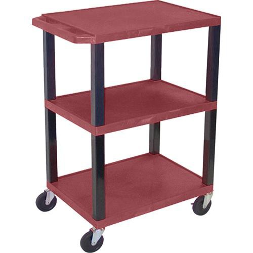 "Luxor WT34SBU Commercial Busing Cart (24 x 34 x 18"", Burgundy)"