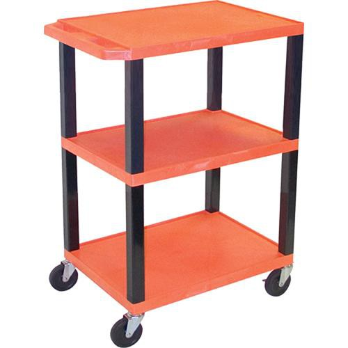 "Luxor WT34SO Commercial Busing Cart (24 x 34 x 18"", Orange)"