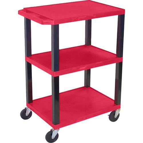 "Luxor WT34SR Commercial Busing Cart (24 x 34 x 18"", Red)"