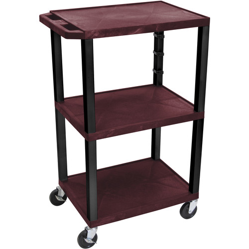 "Luxor WT42EBU  Tuffy Open Shelf Cart (24 x 42 x 18"") (Burgundy)"