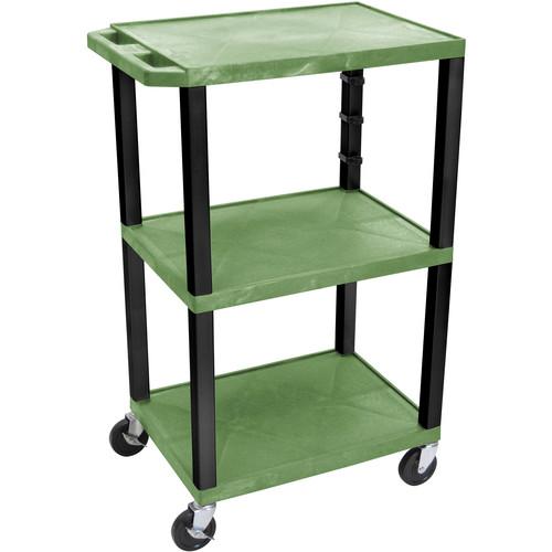 """Luxor 42"""" 3-Shelf AV/Utility Cart (Green Shelves / Black Legs, Electric)"""