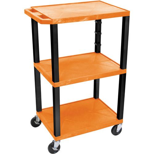 """Luxor WT42EO  Tuffy Open Shelf Cart (24 x 42 x 18"""") (Orange)"""