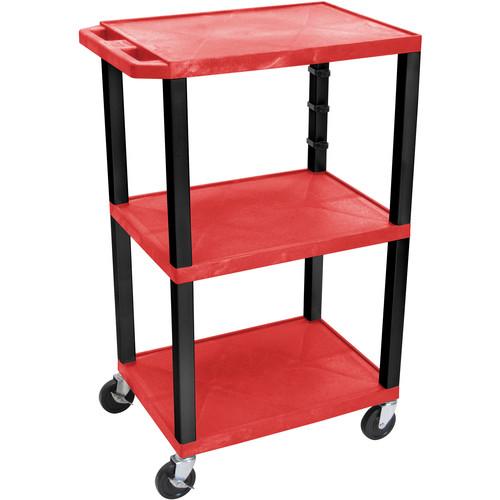 """Luxor 42"""" 3-Shelf AV/Utility Cart (Red Shelves / Black Legs, Electric)"""