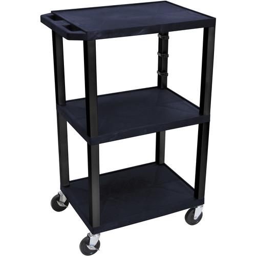 """Luxor 42"""" 3-Shelf AV/Utility Cart (Topaz Shelves / Black Legs, Electric)"""