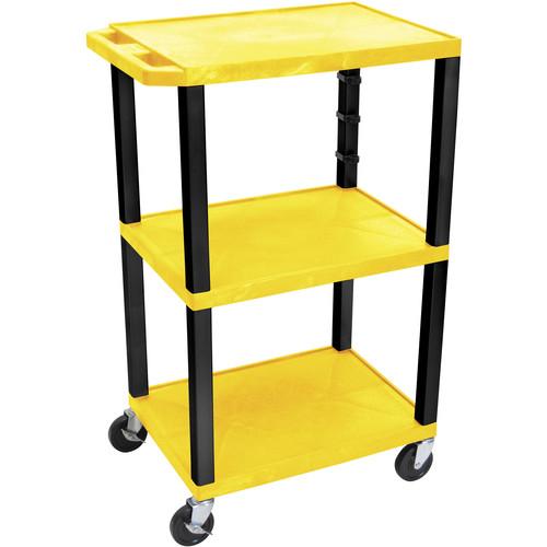"""Luxor WT42EY  Tuffy Open Shelf Cart (24 x 42 x 18"""") (Yellow)"""