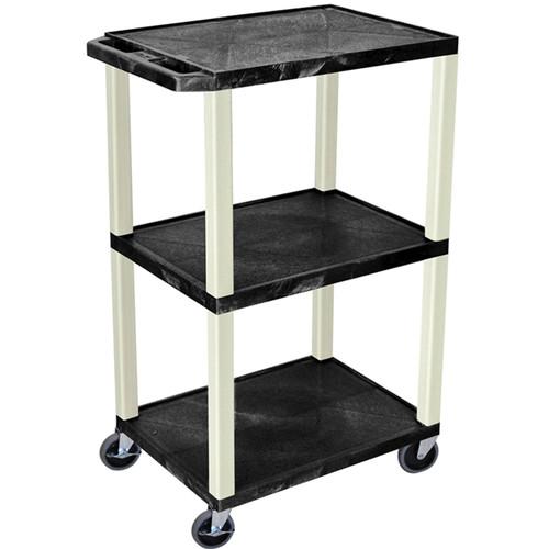 """Luxor 42"""" 3-Shelf AV/Utility Cart (Black Shelves / Putty Legs, Electric)"""