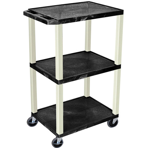 "Luxor 42"" Tuffy 3-Shelf Utility Cart w/elec (Black)"
