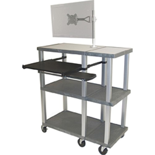 H. Wilson WTPS70ME-N Series Presentation Station  and Monitor Mount (Black Shelves; Nickel Legs/Cabinet)