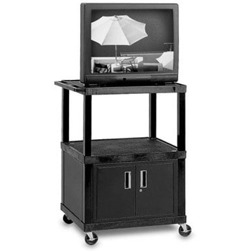 "H. Wilson WTV48CE  Tuffy Video Cabinet Cart - 48 x 32 x 24"" (Black)"