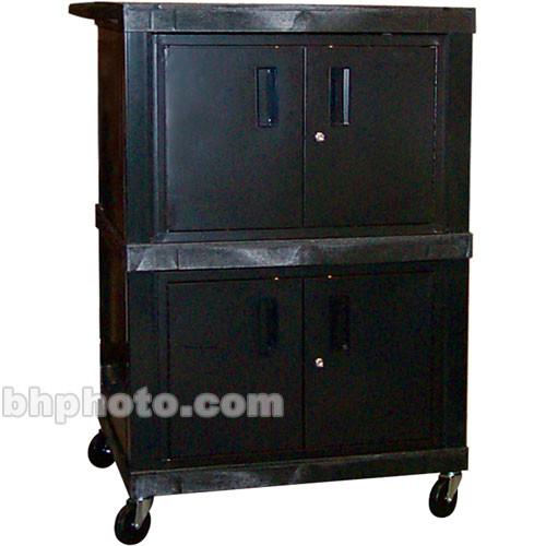 "H. Wilson WTV50 Tuffy Mobile Dual Cabinet Cart - 32 x 49 x 24""  (Black)"
