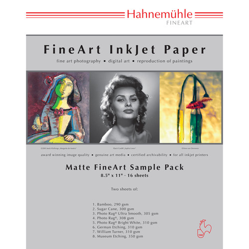 "Hahnemuhle 10640333D Sample Pack (8.5 x 11"", 16 Sheets of Paper, Matte)"