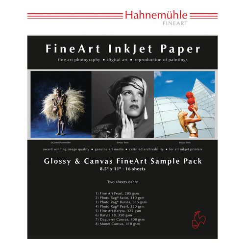 """Hahnem�hle 10640777B Sample Pack (8.5 x 11"""", 16 Sheets of Paper, Glossy)"""