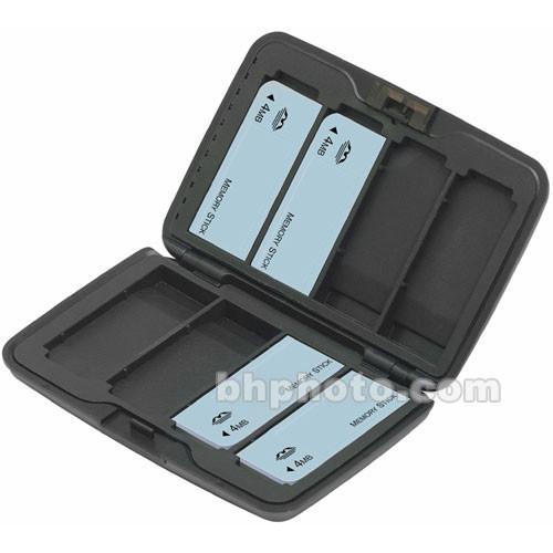 Hakuba Hard Plastic Digital Media Storage Case - holds 8 Memory Stick Cards (Titanium Finish)