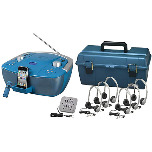 HamiltonBuhl Val-U-Pak 6-Station Listening Center with Leatherette Headphones