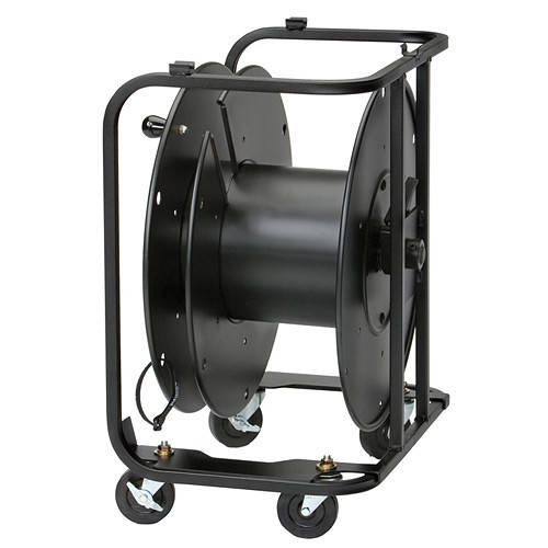 "Hannay Reels AVD-2 Audio/Video Reel with Divider and 3"" Casters (Black)"