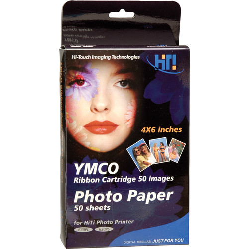 "HiTi PhotoPaper-50 Print Pack (50 Sheets of 4x6"" Paper with Ribbon)"