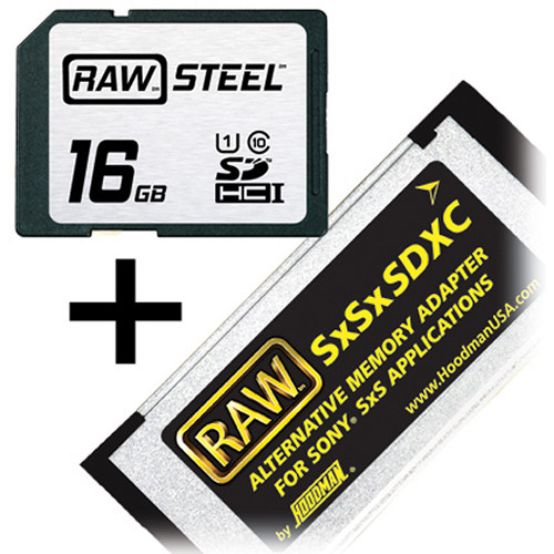 Hoodman 16GB SDHC Memory Card RAW STEEL Class 10 UHS-I and SxSxSDXC Adapter Kit